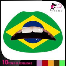AC001 world cup 2014 Brazil flag face Temporary tattoo paste/ tattoo sticker/face sticker temporary flag lip sticker