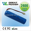 UN38.3 approved lithium ion battery 18650 lithium-ion battery 2200mah/2400mah/2800mah