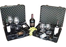 Promotional wine travel case with glasses slots