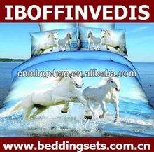 3D cotton white horse design duvet cover set
