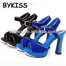 Elegant goatskin ladies shoes platform high heel with peep-toe sandals