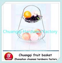 chrome wire fruit basket 2 layer CQ2023