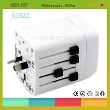 GENJOY A1322 travel multi adaptor plug with usb 2500mA usb output,charge for ipad,tab,iphone,ipod,mp3,samsung