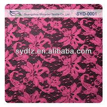 Purple red color blending floral bridal veil lace fabrics SYD-0001