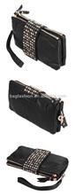 Korean Black Style PU Leather fashion Rivet Clutch Purse Wallet