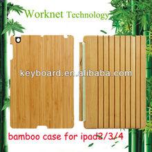 sleep-wake up functional bamboo smart cover for ipad 2/3/4