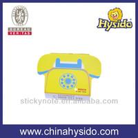 die cut telephone shaped slant note pad with printed logo