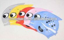 color color silkscreen printed fish shaped silicone children swim cap