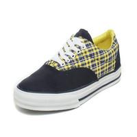 Hot Fashion Women Canvas shoes Women Sneakers/Lemon yellow + Navy blue