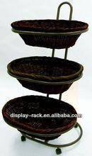 3 tier floor fruit wicker basket stand HSX-S1129
