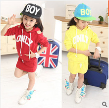 2014 spring newest fashion han edition alphabet strapless hooded children sets