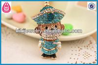 blue crystal gold monkey small animal shaped keychain jewelry