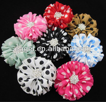 "New arrival 2.4"" polka dot chiffon hair flower with rhinestone,baby hair flower,hair accessories IN STOCK"