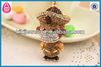brown crystal gold monkey small animal shaped keychain jewelry