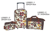 600d polyester printing traveling suitcase 3 sets bags
