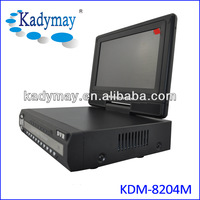 """D1 real time security cctv dvr recorder with 7"""" LCD monitor support video and audio aynchronously"""