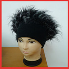Knit Flat Top Fur Hat for Party