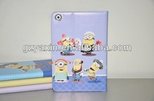 for ipad mini minions leather wallet case cover,slim leather case for new ipad