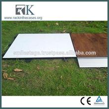 Wooden Black and White Folding Portable modular dance floor 3 lighting
