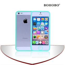 2014 hotest fashion plug-in style clear acrylic moblie phone case with green bumper for iphone 5G/5S case