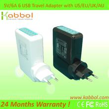 5V 6A Travel 6 USB HUB Ports Wall Charger for iPad, Samsung etc
