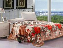 polyester flower print flannel blankets