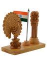 escritorio de madera dekor pavo real de diseño indio pilar de ashoka