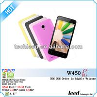 China supplier 4.5inch smartphone W450 dual sim card quadband screen MTK6582