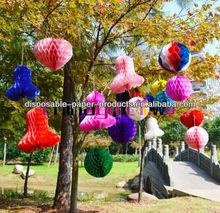 Hanging Tissue Paper Balls Fans Pompoms honeycomb tissue bell paper lantern Wedding Decoration Party Baby Shower