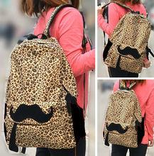 Women Rucksack Campus Totes Hobo Leopard Mustache Camping Satchel School Bag
