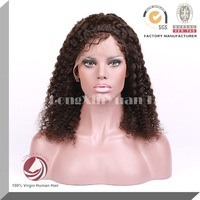 wholesale price for afro kinky curly silk top lace front wig100% virgin Indian hair wig