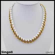 Chain gold link & Entwine white ribbon collar necklace 2014 wholesale ebay in China jewelry