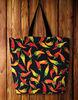 chili motif printed cotton-canvas tote bag fashionable new stylish tote bag fashion bags ladies handbags