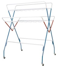 Folding Metal Clothes drying Hanger Stand with Roller