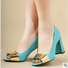 2014 spring newest european and american fashion leather shoes fish head women high-heeled shoes
