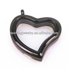 black heart shape glass memory lockets