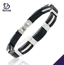 Graceful flexible clasp black rubber design mens bracelet
