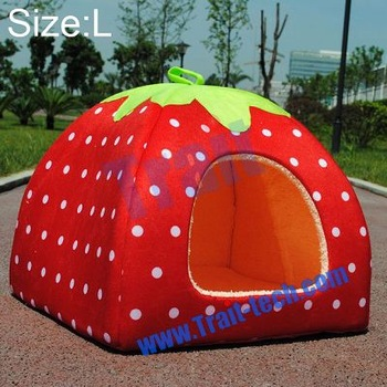 Wholesale Blue/Red Strawberry Cute Soft Style Design Pet Dog /Cat/ Rabbit Bed Indoor House Kennel S/M/L/XL Size Favorites