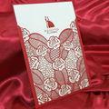 Livre impressão do cartão de casamento/corte a laser cartão convite de casamento/vermelho cartão de casamento