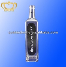 SQUARE VODKA GLASS BOTTLE WITH CUSTOM PRINTING AND FRSOTED