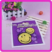 Yiwu custom purple ldpe plastic die cut shopping bag