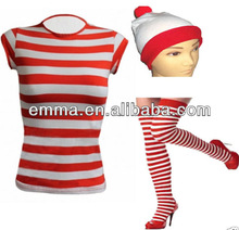 LADIES WHERES RED & WHITE STRIPED T SHIRT HAT GLASSES WALLY STYLE FANCY DRESS BW955