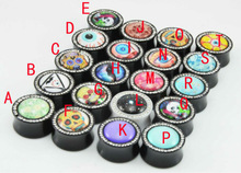 Acrylic Tunnel Logo Saddle Ear Plugs Gauge CZ gem Body Jewelry Piercing