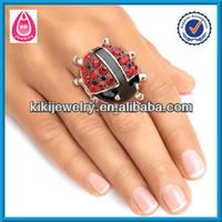 metal red and black crystal ladybug stretch finger ring
