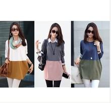New design 2014 slim joint color matching long sleeve girl summer dress