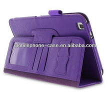 Pen slot PU tablet cover case for Samsung Galaxy Tab 3 8.0 with card slots and 2 folder stand function