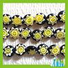 cheap print yellow star glass beads flat round millefiori beads