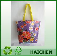 Durable Oilcloth Market Bag - Purple Hibiscus