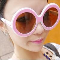 Magic Pink Double Color Simple Design Plastic Sunglasses