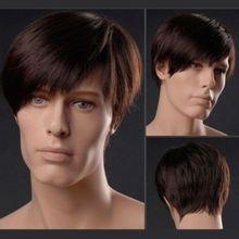 New Fashion Synthetic Kanekalon Fiber Sided Bangs Short Straight Male Hair Wigs Men's Wigs